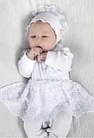 Комплект для новорожденной девочки на выписку из роддома (человечек, чепчик, царапки) ТМ Модный карапуз Белый