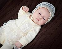 Комплект для новорожденной девочки на выписку из роддома (человечек, чепчик, царапки) ТМ Модный карапуз Молочный