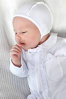 Комплект из интерлока для новорожденного мальчика на выписку из роддома (человечек, чепчик, царапки) Модный карапуз Белы