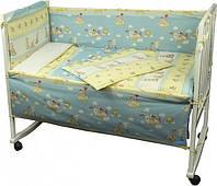 Комплект постельного белья + бортик в детскую кроватку Руно 977 Журавлик (бязь) ТМ Руно