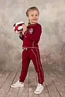 """Красивая детская кофта-реглан для девочки 3-8 лет с аппликацией """"Сердце"""" ТМ Модный карапуз Бордо"""