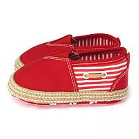 Красные пинетки в розовую полоску для девочки (первая детская обувь) Berni