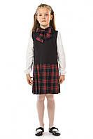Красивый школьный сарафан 17-195а в красную клетку на черно-синем для девочки 8-9 лет (р. 128, 134!) ТМ Kids Couture
