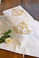 Крестильное полотенце из махры №2 с золотой вышивкой (крыжма, 70х140) ТМ Глаздов