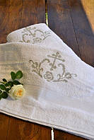 Крестильное полотенце из махры №2 с серебряной вышивкой (крыжма, 70х140) ТМ Глаздов