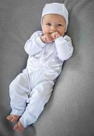 Крестильный набор комбинезон для мальчика 3-9 мес. раз. 62-74 (4 элемента без крыжмы) ТМ Модный карапуз Белый 03-00454-0