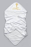 Крыжма (крестильное полотенце) для новорожденого из интерлока с эксклюзивной вышивкой 95х95 ТМ Веселый карапуз