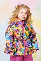Курточка демисезонная для девочки 1,5-5 лет с цветочным принтом Модный карапуз Розы