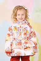 Курточка утепленная для девочки 1,5-5 лет с цветочным принтом Модный карапуз Цветы