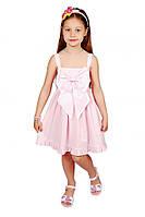 Летнее платье - сарафан 15-305 для девочки от 4 до 8 лет (р. 104-128) из хлопка от ТМ Kids Couture Розовая точка
