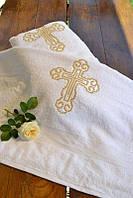Махровая крыжма для крещения №1 с двухсторонней вышивкой (крестильное полотенце, 70х140) ТМ Глаздов Золото