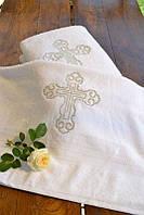 Махровая крыжма для крещения №1 с двухсторонней вышивкой (крестильное полотенце, 70х140) ТМ Глаздов Серебро