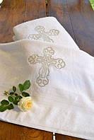 Махровая крыжма для крещения №1 с серебряной вышивкой (крестильное полотенце, 70х140) ТМ Глаздов