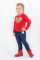 """Модная кофта реглан для девочки с аппликацией из пайеток """"Сердце"""" ТМ Модный карапуз Красный"""