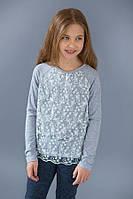 Нарядный детский реглан с кружевным гипюром для девочки 4-8 лет ТМ Модный карапуз Серый меланж