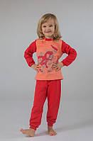 Пижама детская утепленная из футера для девочки 2-7 лет (100% хлопок) ТМ Модный карапуз Коралл-персик