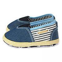 Пинетки джинсовые в морском стиле для малыша (детская обувь) Berni Синий