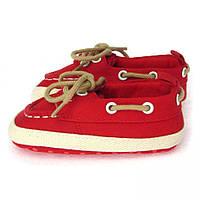 Пинетки хлопковые на шнурках (обувь для малышей) Berni Красные