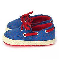 Пинетки с мягкой подкладкой на завязках для самых маленьких (обувь на первый шаг) Berni Синие
