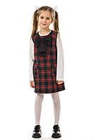Полушерстяной школьный сарафан 17-181 в клетку для девочки 9 лет (р. 134!) ТМ Kids Couture