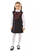 Полушерстяной школьный сарафан 17-181а с бантом в клетку для девочки 7-11 лет (р. 122-146) ТМ Kids Couture Чернильный