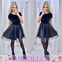Платье с фатином черное  11848
