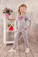 """Стильная кофта реглан для девочки 3-8 лет с аппликацией """"Сердце"""" (р. 98-128) ТМ Модный карапуз Серый меланж"""