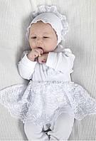 Хлопковый комплект для новорожденной на выписку из роддома (человечек, чепчик, царапки, конверт) ТМ Модный карапуз Белый