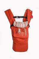Хлопковый рюкзак-переноска детей (эргорюкзак, 3 положения, до 20 кг.) ТМ Модный карапуз Красно-терракотовый