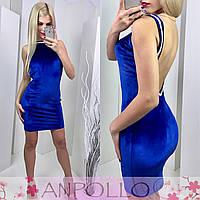Платье с камнями на спинке синее 11850