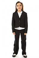 Школьный пиджак 17-158 из полушерсти для девочки 7-14 лет (р. 122-146) ТМ Kids Couture Черный