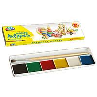 Акварель медовая 6 цветов с кисточкой, к/у, Любимые игрушки, (311031) Гамма