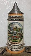 Керамический бокал для пива с оловянной крышкой Германия