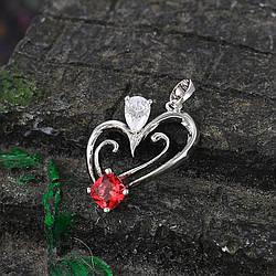Кулон родій, Фігурне серце з червоним цирконієм, медичне золото