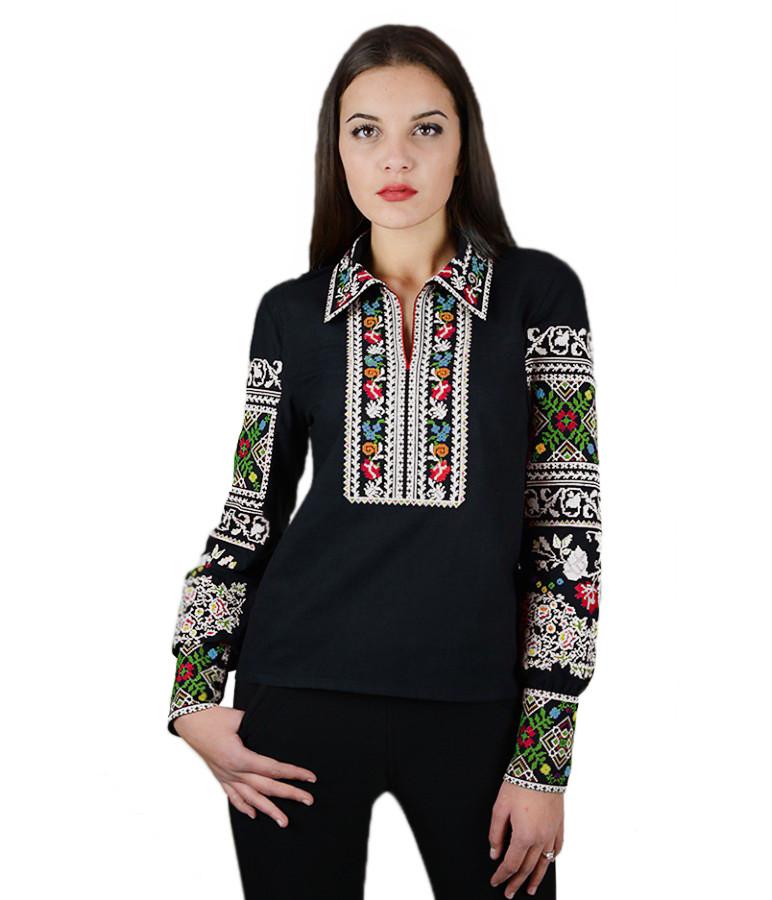 """Вышитая женская рубашка черная """"Щедрость""""  М-231-3"""