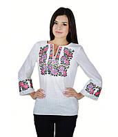 Вышитая женская рубашка белая  «Полевые цветы» М-226-4