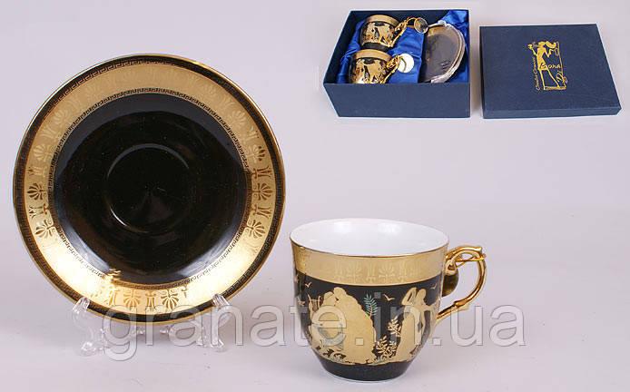 """Подарочный чайный набор """"Греция"""" 2 чашки 225 мл +блюдца,"""