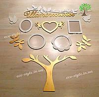 Настенный декор, набор фоторамок, фоторамки из дерева