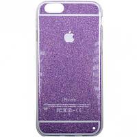 Чехол силикон цветной с глиттером на iPhone6
