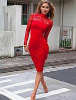 Женское стильное платье с кружевом (4 цвета), фото 1