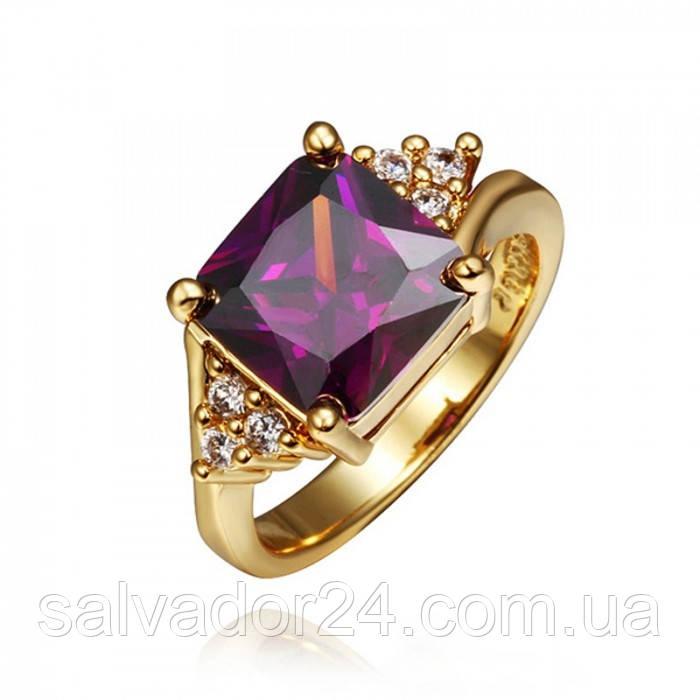 Женское кольцо 18К позолота, с аметистовым фианитом, 18 размер