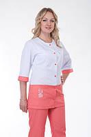 Модный двухцветный медицинский костюм, белый с персиковым