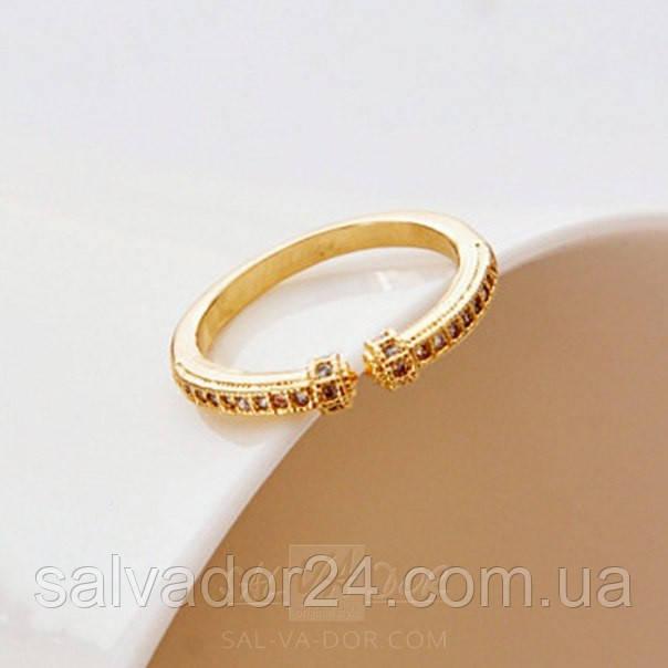 Женское позолоченное кольцо для мизинца с фианитами 18К, 14 размер