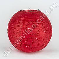 Подвесной фонарик ажурный красный, 25 см