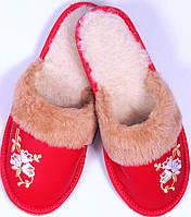 """Тапочки комнатные женские кожаные """"Цветы"""" красные"""