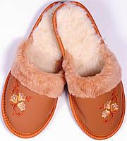 """Тапочки домашние женские кожаные """"Цветы"""" коричневые"""