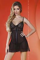 Черная сорочка с атласным бантиком и кружевом EGLANTINE BLACK LC, S/M, L/XL
