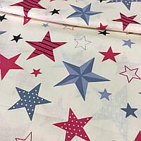 Тканина з червоними і синіми зірками на молочному тлі, фото 1