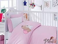 Комплект постельного белья с вышивкой для новорожденных Cotton Box Boo Boo Pembe