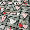 Ткань с сердцами на сером фоне Тильда, ширина 160 см